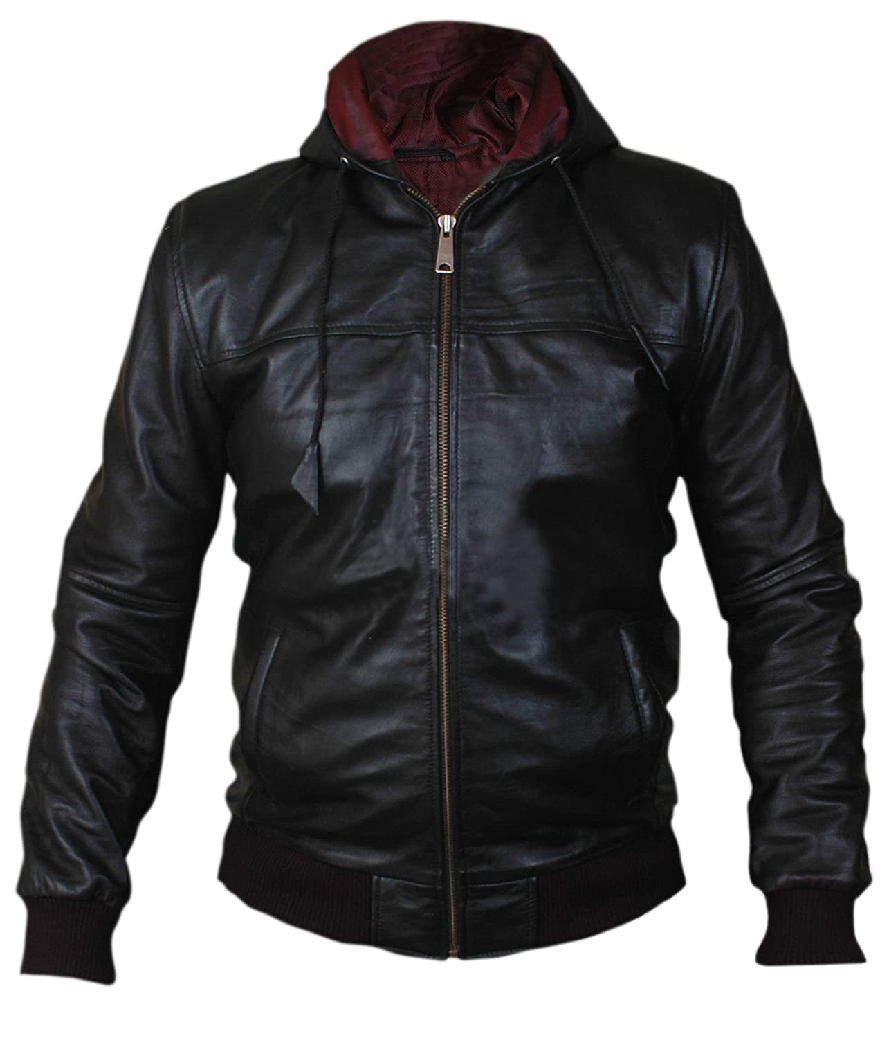 Hooded Airforce Bomber Faux Leather Jacket