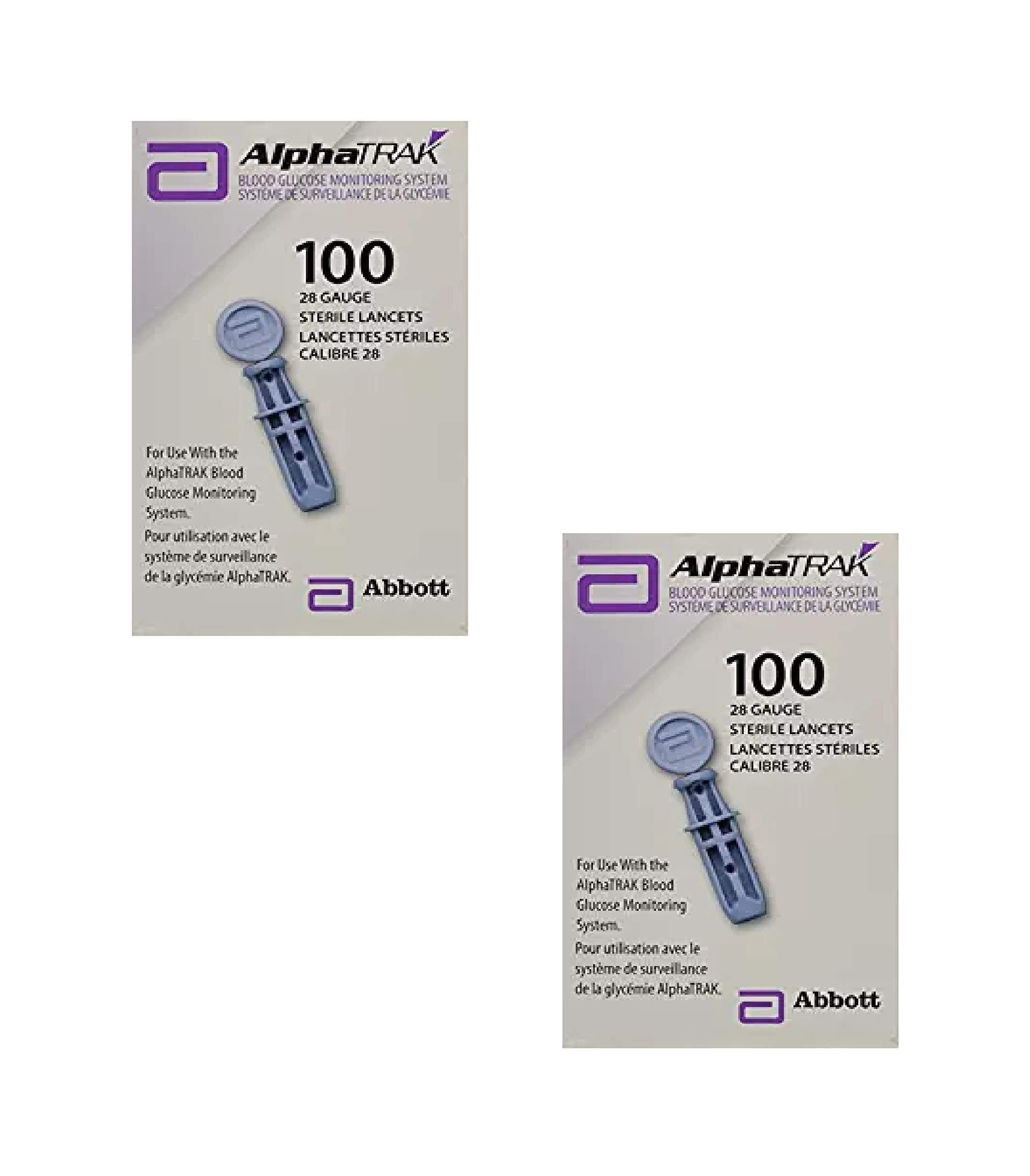 AlphaTRAK Lancets 28 Gauge sterile, 100 Count (2 Pack)