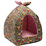 Hollypet Self-Warming 2-in-1 Foldable Comfortable Triangle Cat Bed Tent House, Gray