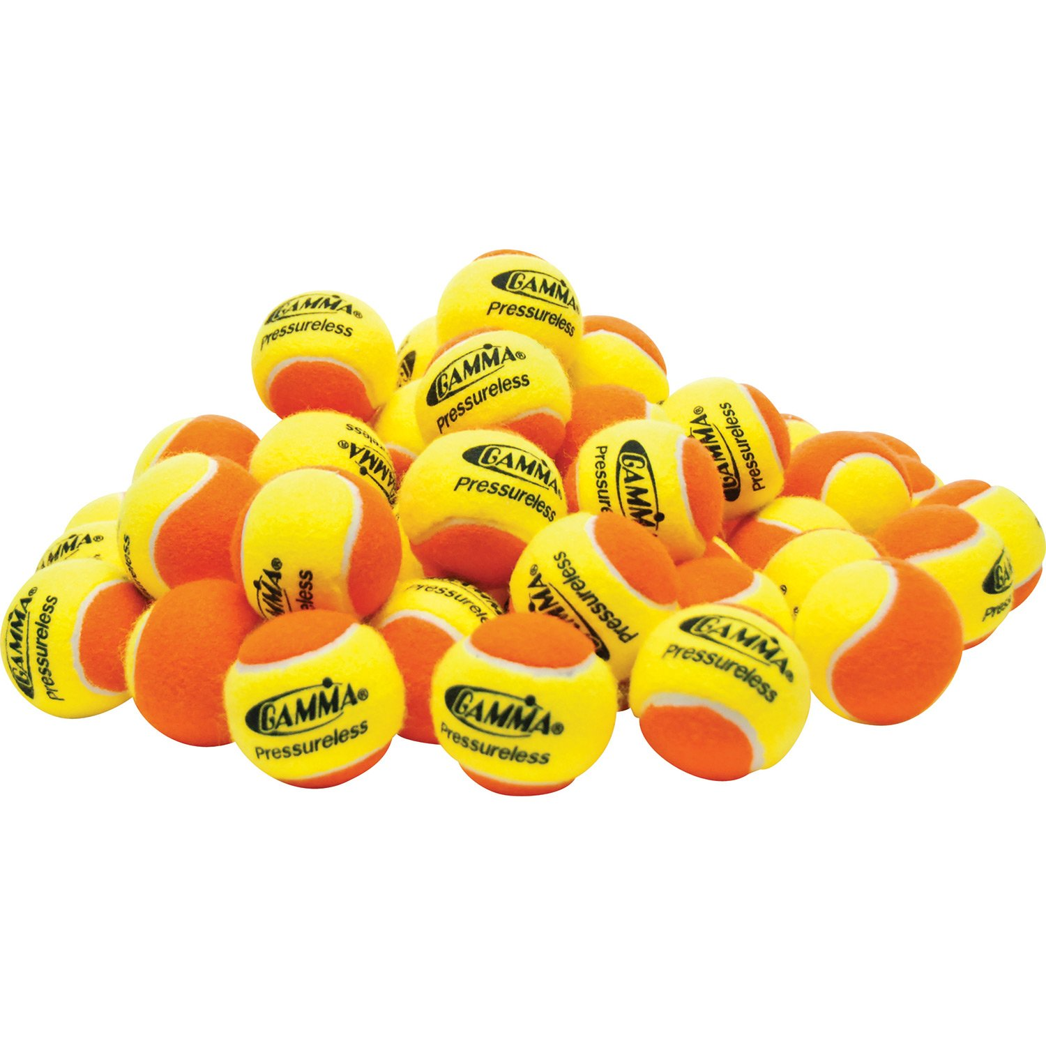 Gamma Sports Pressureless Practice Tennis Balls, Yellow/Orange - Pack of 60