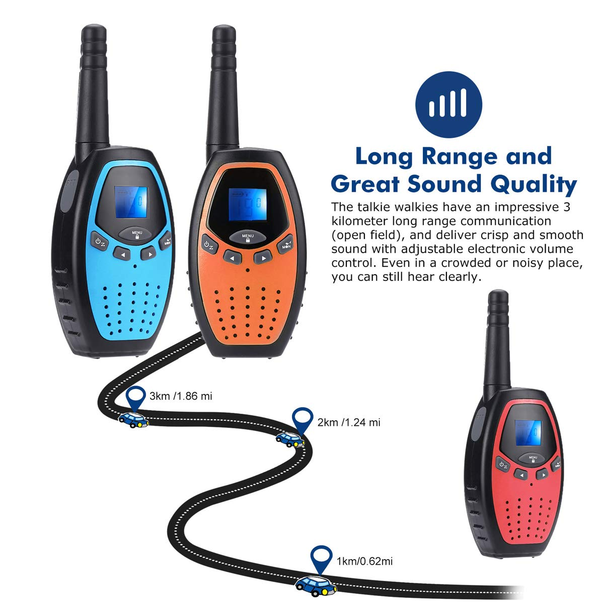 Fistone Walkie Talkies for Kids, 3 Packs 22 Channels 2 Way Radio Long Range Interphone Toys for Boy & Girls Age 3 6 7 8 9 12 Up for Outdoor Adventures, Camping, Hiking by Fistone (Image #4)