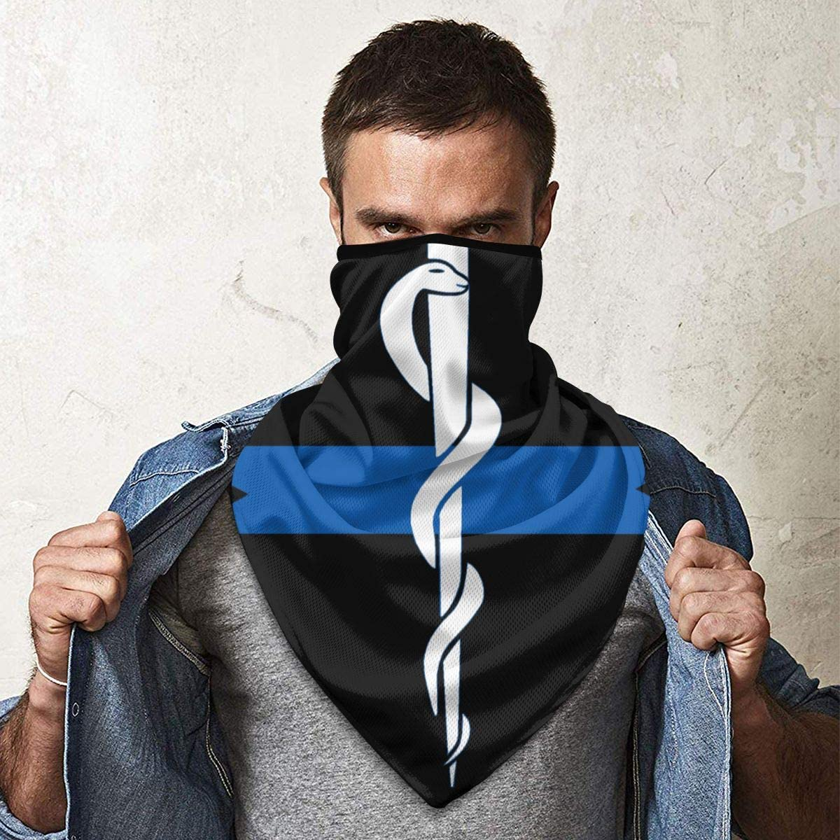 Thin Blue Line EMS Star of Life Outdoor Face Mouth Mask Windproof Sports Mask Ski Mask Shield Scarf Bandana Men Woman