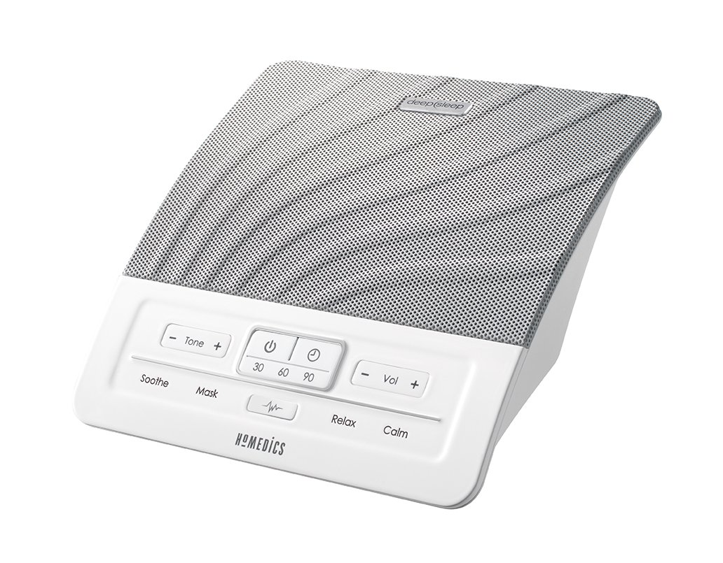 HoMedics Deep Sleep White Noise Sound Machine - Sleepless Nights Solution, Suitable for Adults + Children, Soothe Tinnitus, Noise Cancelling, Adjustable Tone Control, Built-In Timer 30 60 or 90 Mins