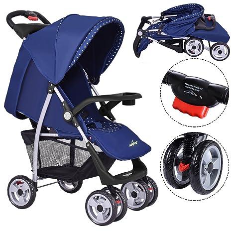 Costway - Cochecito de bebé, cochecito deportivo plegable de viaje, colores para elegir azul