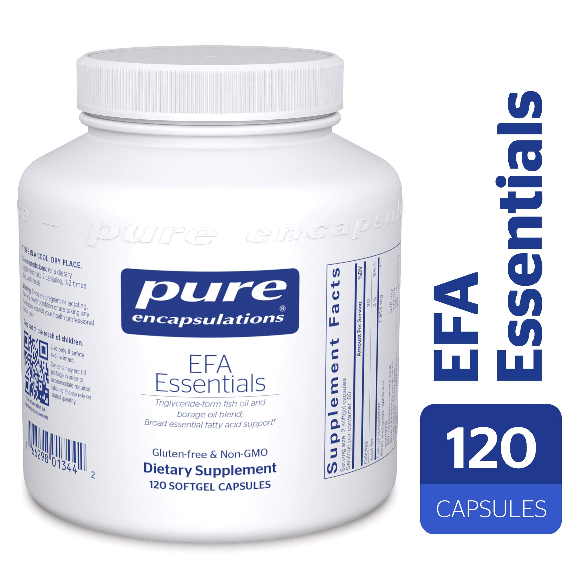 Pure Encapsulations - EFA Essentials - Triglyceride-Form Fish Oil and Borage Oil Blend - 120 Softgel Capsules by Pure Encapsulations