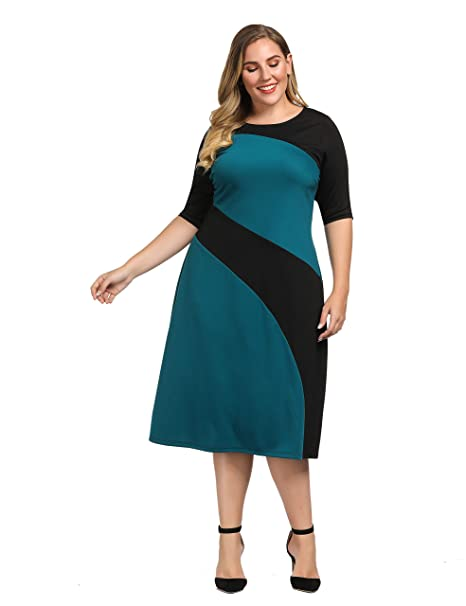 Chicwe Women\'s Plus Size Stylish Contrast Ponte Dress - Knee Length Casual  and Work Dress