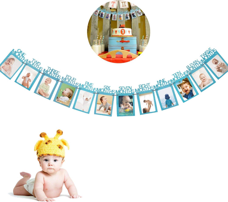 Party Dekor Blau Babyshower Taufe COCOCITY Baby Girlande Bilderrahmen 1 bis12 Monate Baby Fotogirlande Foto Banner f/ür Kinder Geburtstag