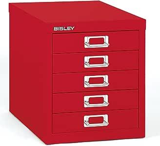 Bisley 5 Drawer Steel Desktop Multidrawer Storage Cabinet, Red (MD5-RD)