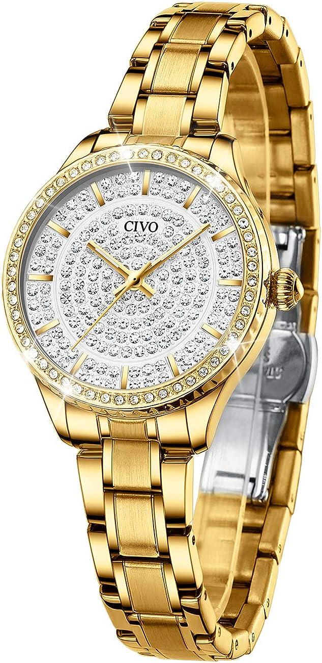 CIVO Reloj Mujer Acero Inoxidable Impermeable Relojes de Damas Oro Rosa Pulsera Analogico Reloj Diamantes para Mujeres Design Elegante Clásico Vestido de Negocios Casual Moda Casual Cuarzo