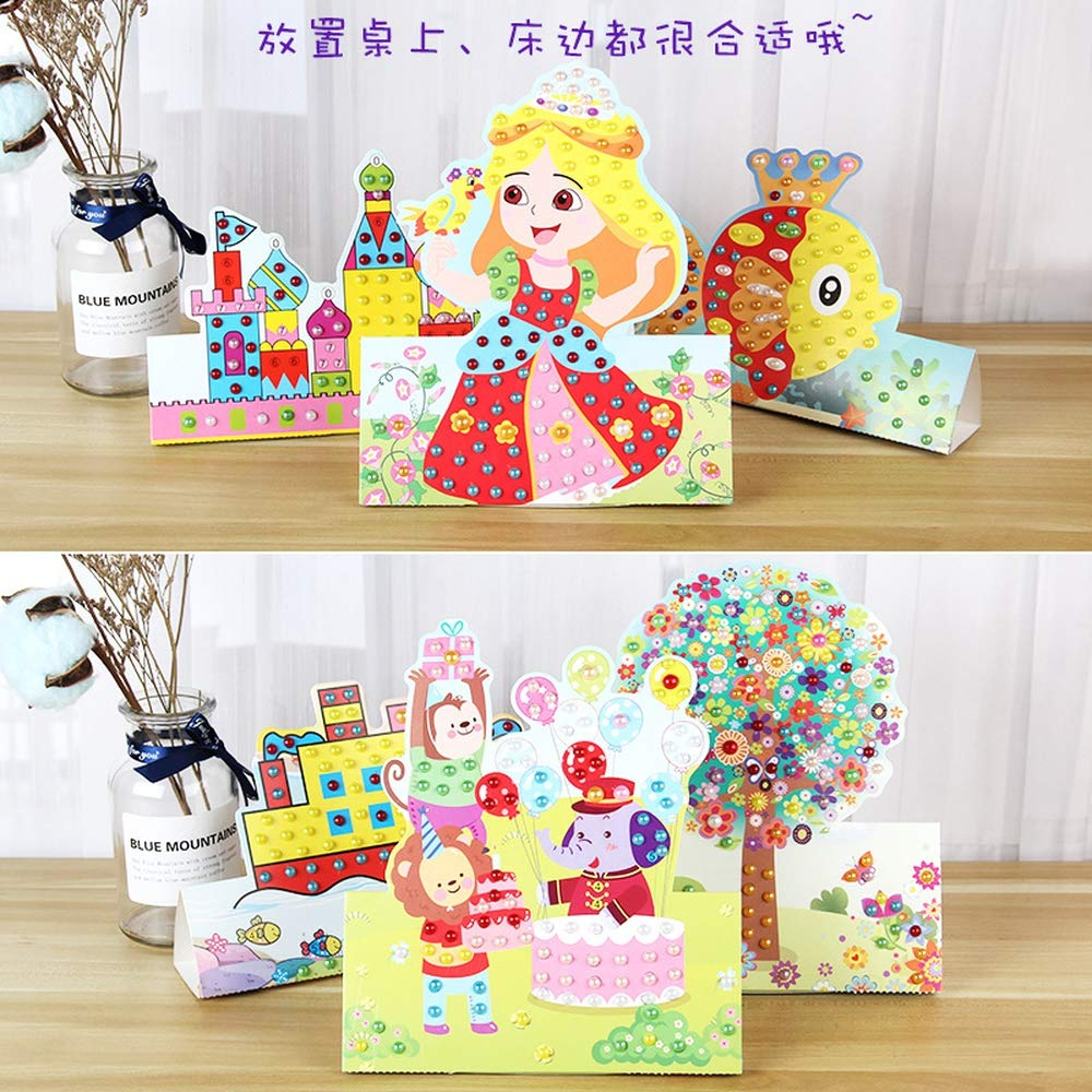 Lizipai 3D Mosaic Sticker for Kids with Gift Box 10 Separate Picture Pearl Cartoon Painting Children Handmade Material DIY Creative Toys Boxed