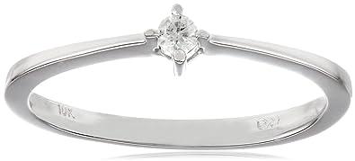 Amazoncom 10k White Gold Diamond Promise Ring 005 cttw HI