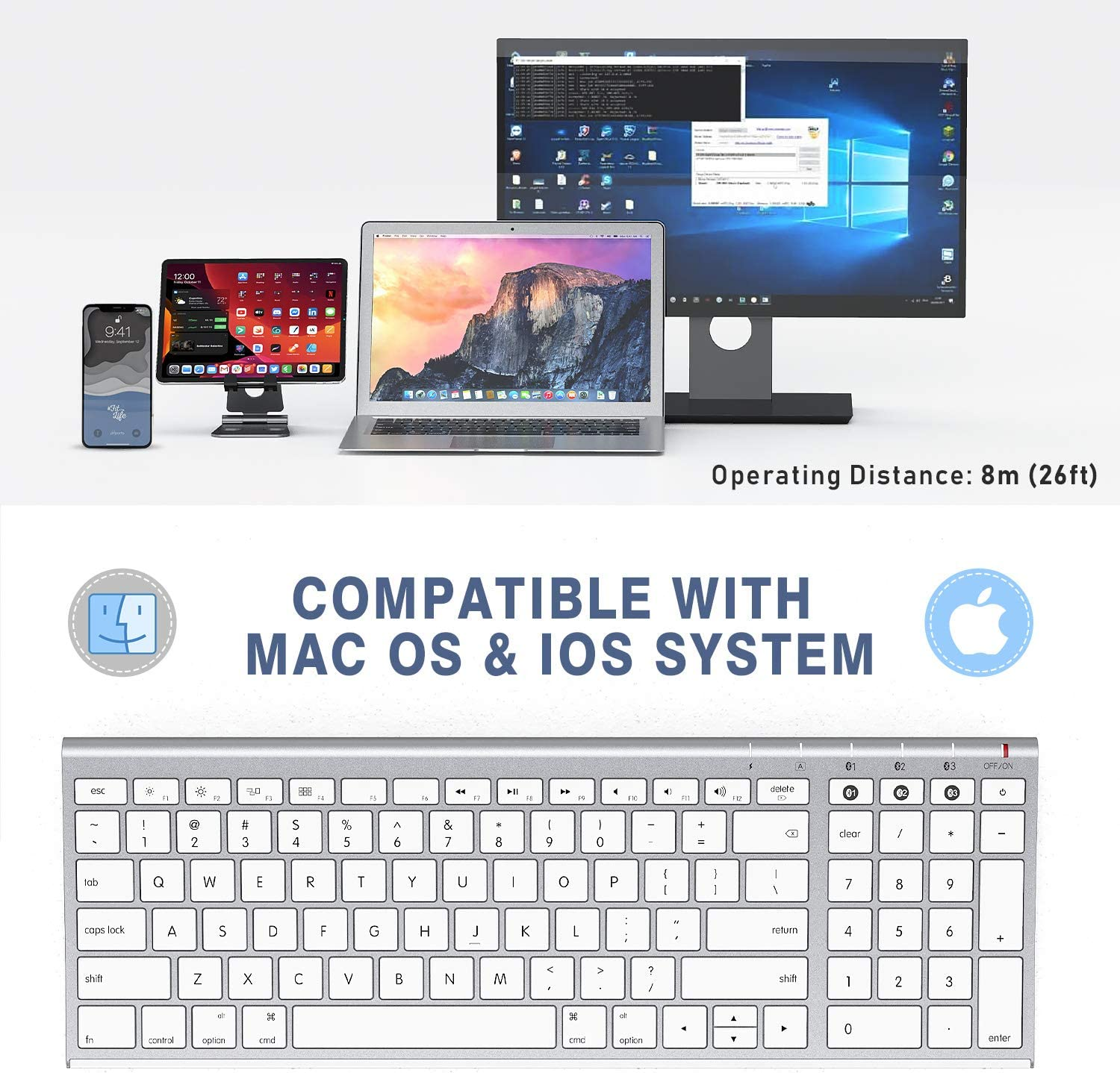 White and Silver iMac Jelly Comb Rechargeable Slim Wireless Keyboard with Number Pad Compatible for MacBook Pro//Air iPhone iPad Pro//Air//Mini Multi-Device Bluetooth Keyboard for Mac OS