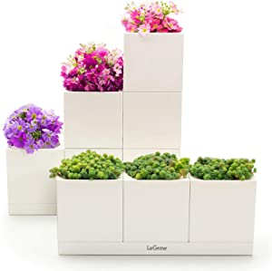 LeGrow Smart Indoor Planter 10 Pot Builder Set - 10 Patented Design Stackable Plant Pots, 6 Bottom Connectors, 2 Water Holding Base Trays - (Plants Not Included)