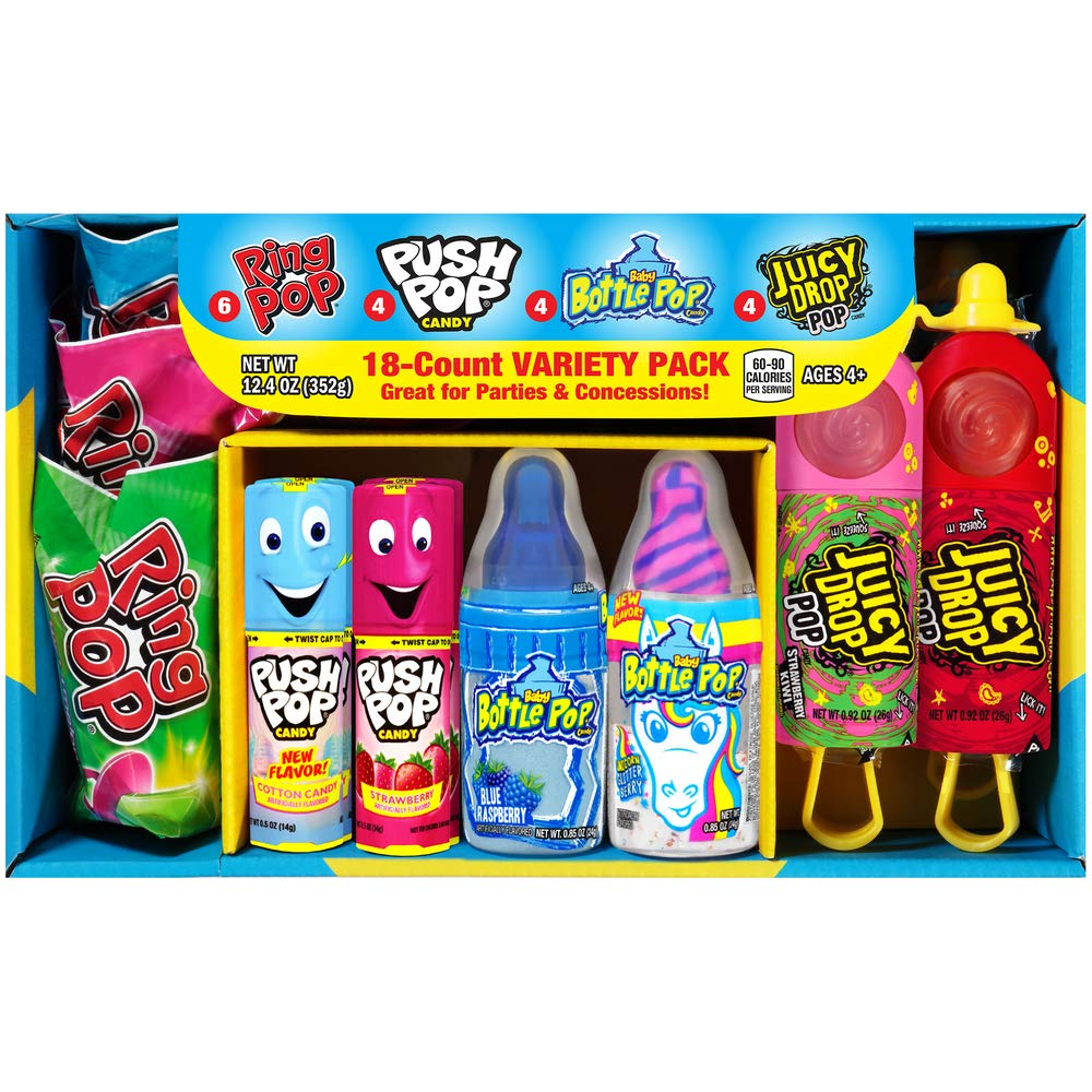 Bazooka Candy Brands Easter Variety Candy Box - 18 Count Lollipops w/ Assorted Flavors from Ring Pop, Push Pop, Baby Bottle Pop & Juicy Drop - Fun Easter Candy for Gifts