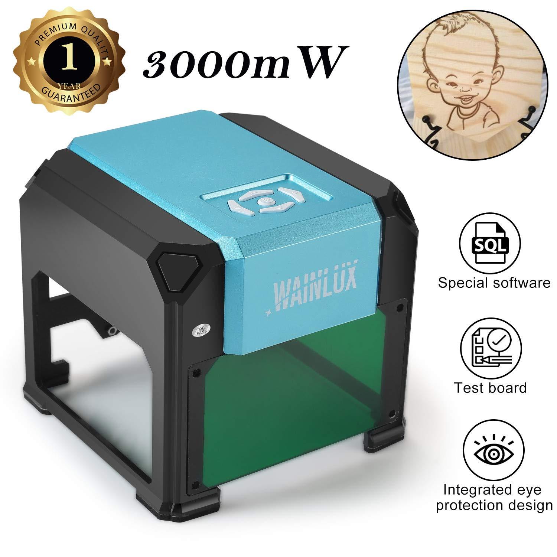 Laser Engraving Machine, 3000mW Mini Desktop Laser Printer Engraver Machine Working Area 80X80mm for DIY Logo(3000mW) by WAINLUX