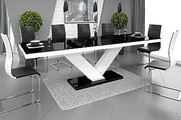 Esstisch Victoria Tisch Ausziehbar in Super Hochglanz Acryl (weiß  Hochglanz/Schwarz Hochglanz)