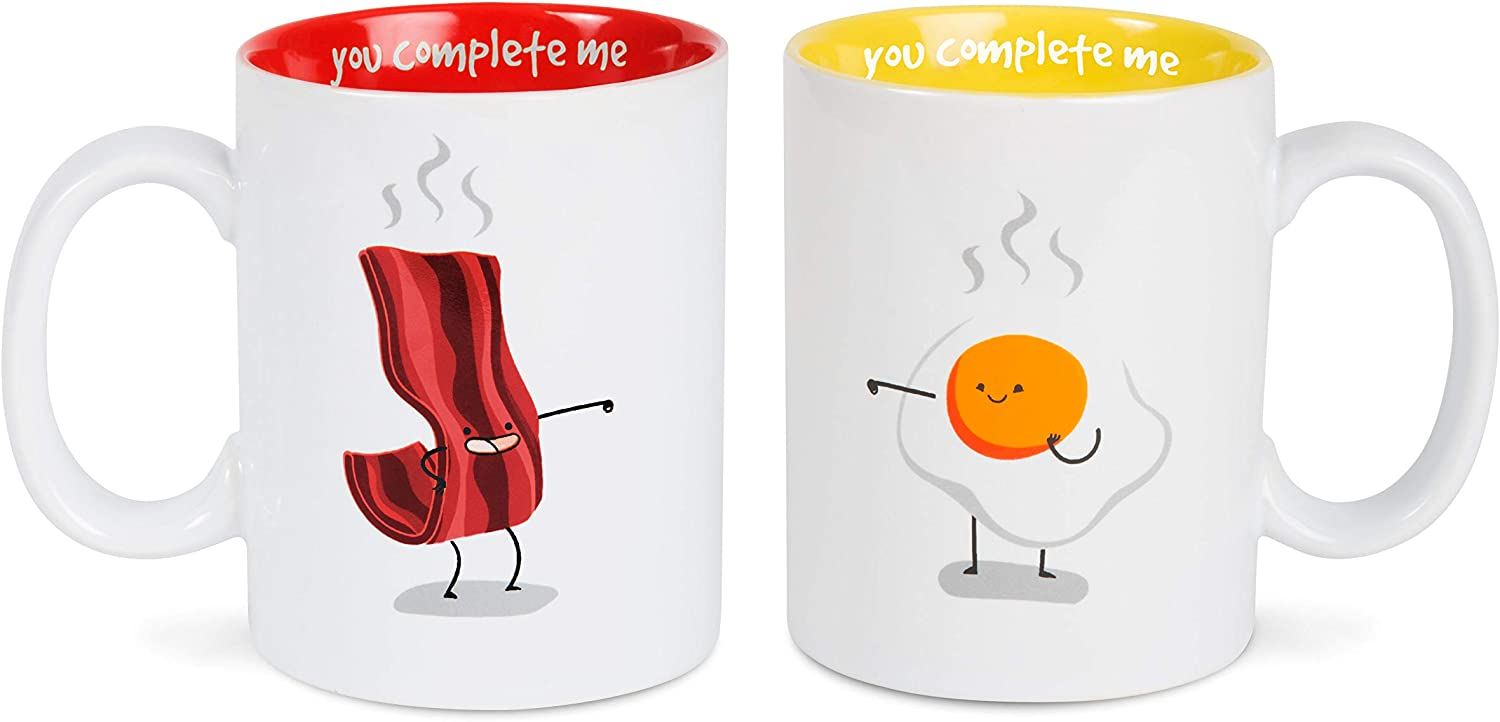 Pavilion Gift Company Bacon & Eggs Complimentary Dishwasher Safe Coffee Mugs, 18 oz, Multicolor