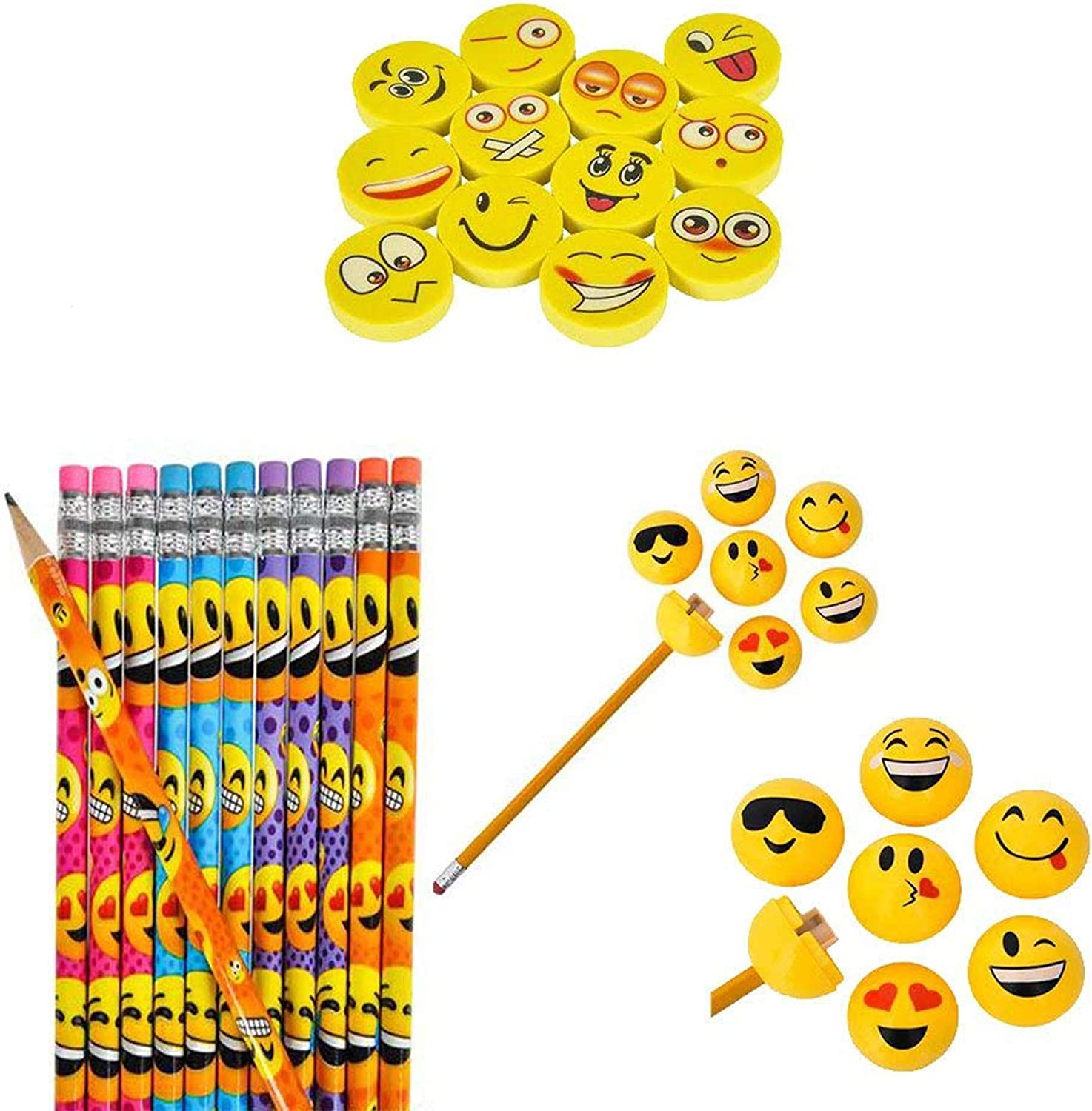 15 x Pieces Emoji Smile Erasers for Kids Party Bag Fillers