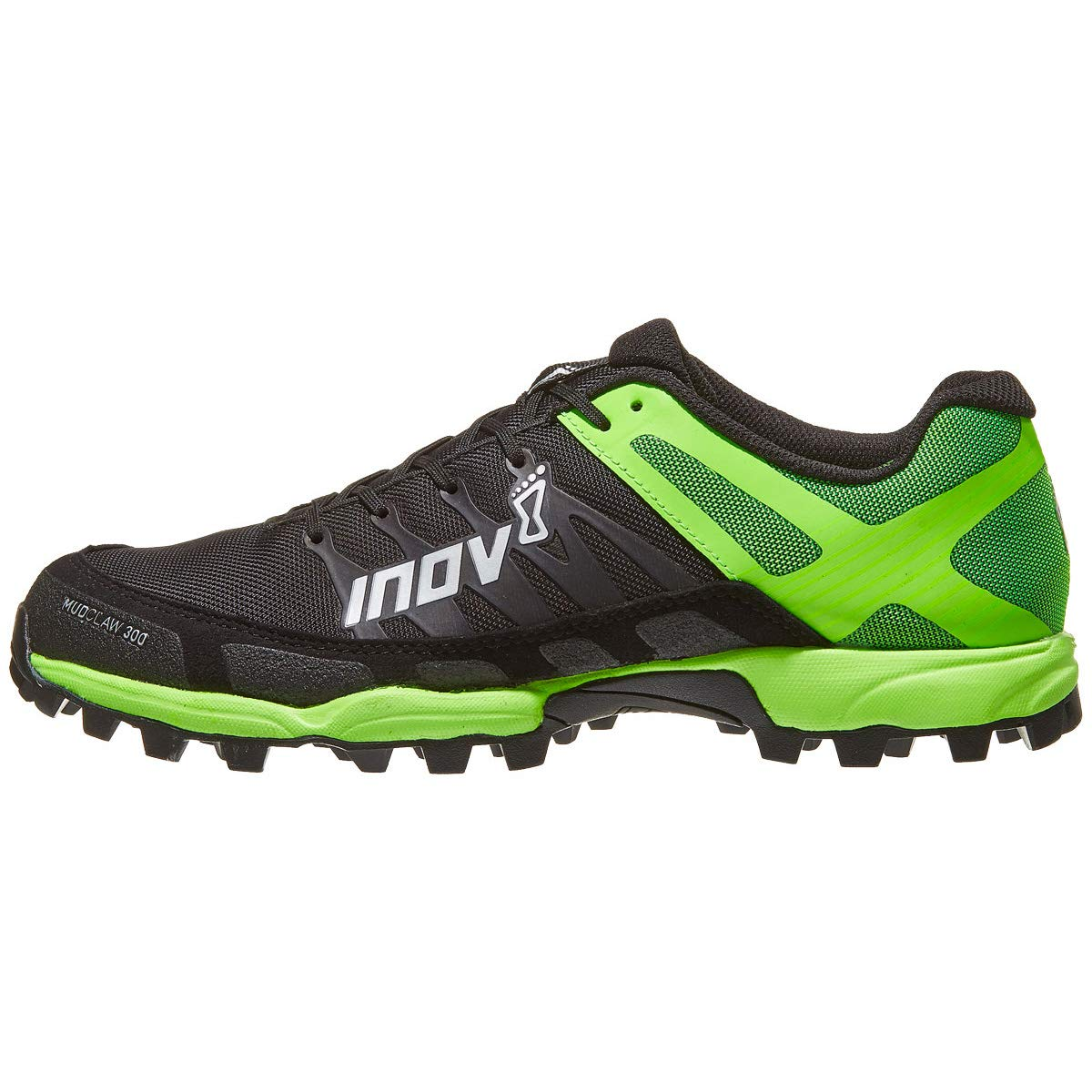 Image of Athletic Inov-8 Men's Mudclaw 300 Running Shoes - Black/Green - 000770-BKGR-P-01