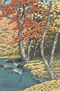 Autumn at Oirase Hasui Kawase Japanese Painting Japanese Woodblock Art Nature Asian Art Modern Home Decor Fall Trees Cubicle Locker Mini Art Poster 8x12