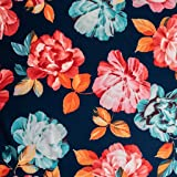 75b19b8f7e1 Navy & Multicoloured Floral Printed Stretch Scuba Jersey Knit Fabric - Sold  By The Metre -