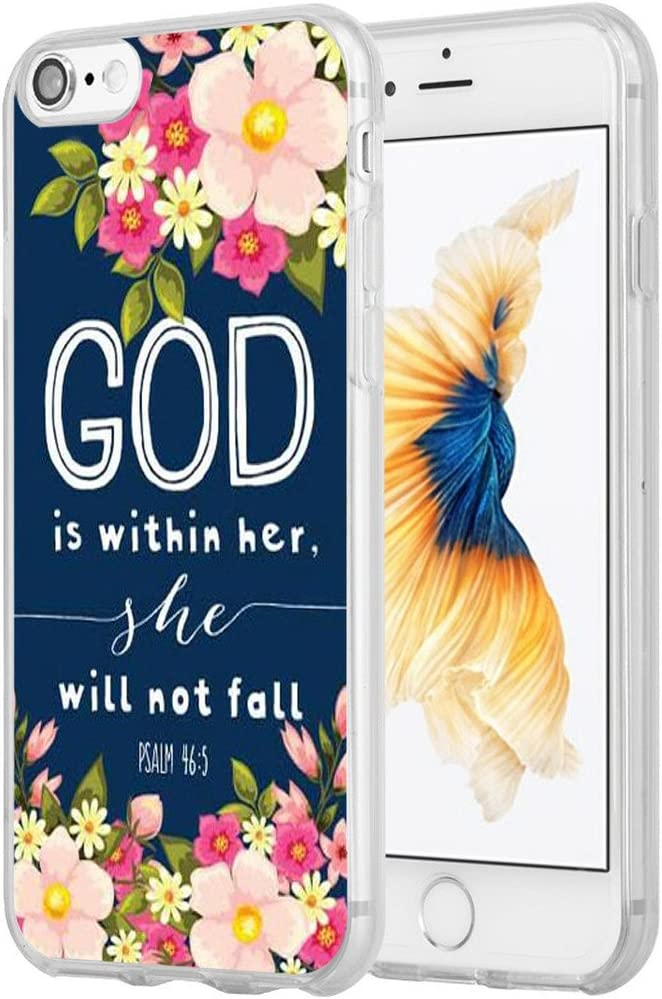Case for iPhone 7 Christian Sayings,Hungo Soft TPU Silicone Protective Cover Compatible with iPhone 8/7 / SE 2 (SE 2020) God is Within Her She Will Not Fall Psalm Bible Verse Songs Rubber