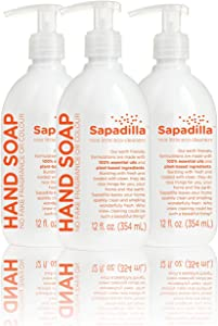 Sapadilla Grapefruit + Bergamot Biodegradable Liquid Hand Soap Pump, 12 Ounce, (Pack of 3)