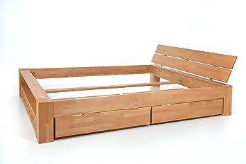 ALASKA Doppelbett Buche massiv mit Schubladen, 160x200 ✓ Handarbeit ...