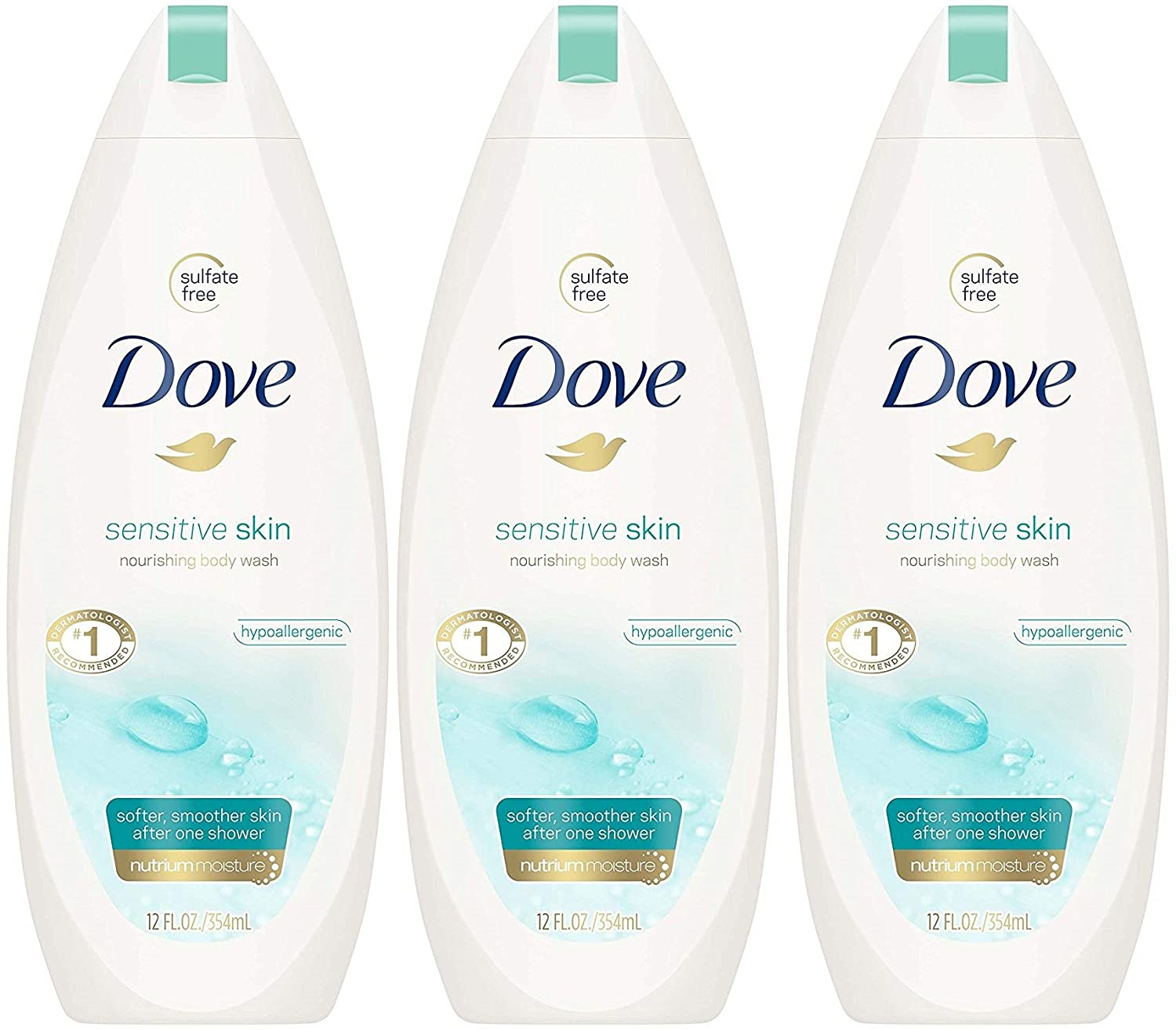 Dove Sensitive Skin Nourishing Body Wash, 12 Fluid Ounce (Pack of 3)