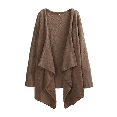 ed831bc4f6d Reaso Femmes Cardigan Laine Agneau Chandail Long Tricoter Manche longue  Sexy Pull Elegant Sweater Chic Manteau