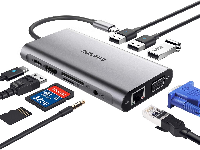 EUASOO Hub USB Tipo C 10 en 1 Hub de Aluminio Tipo C con HDMI 4K Gigabit Ethernet RJ45 1080P VGA 3.5mm de Salida de Audio 3 USB 3.0 Lector de Tarjetas SD/TF con Carga PD Tipo C