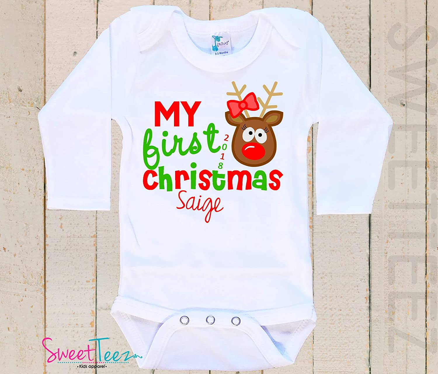 My first Christmas Shirt Baby Bodysuit Baby Girl Boy Personalized with Name and Year Reindeer
