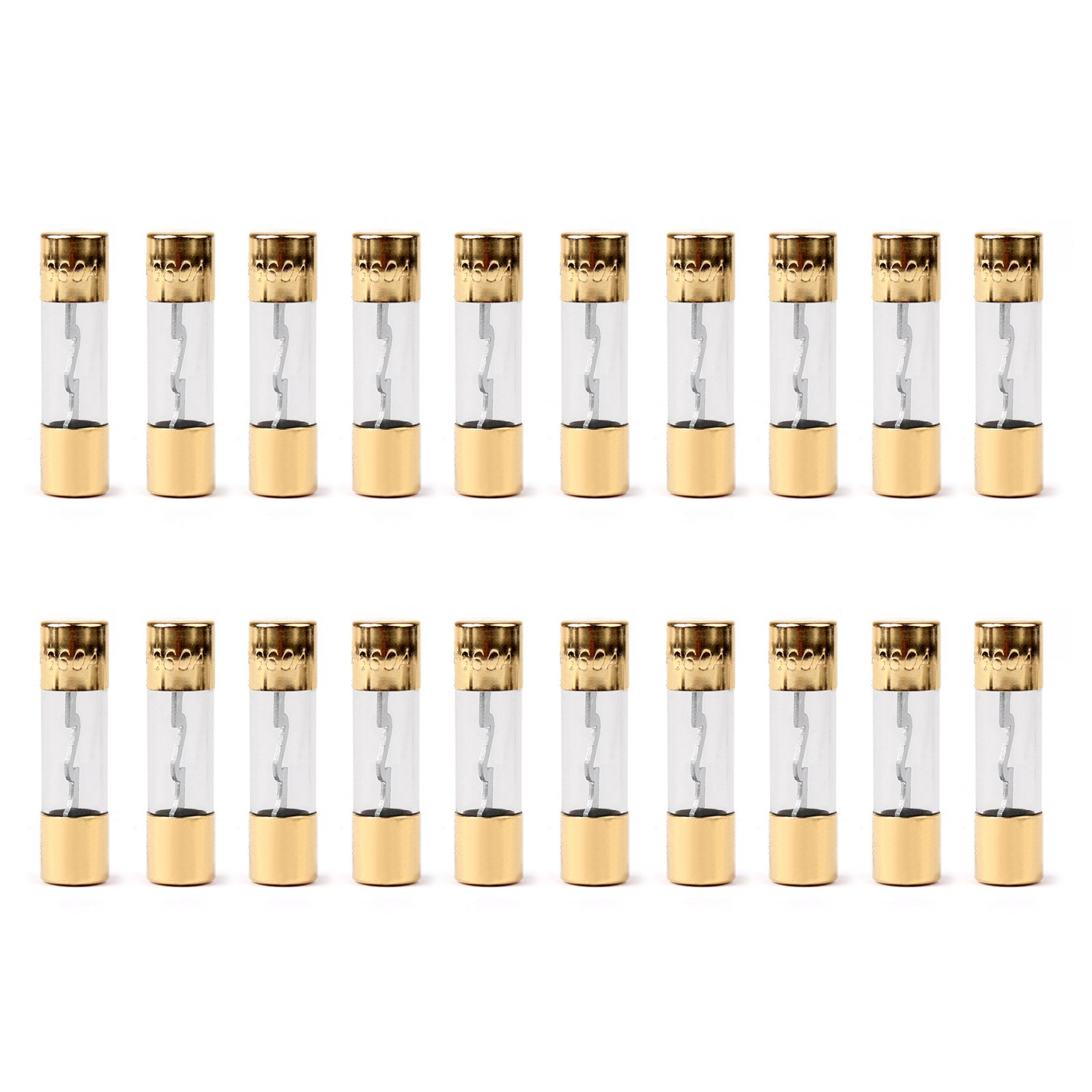Areyourshop 20Pcs AGU Fuse Car Audio Power Safety Protection Glass Tube Gold Plated 60A