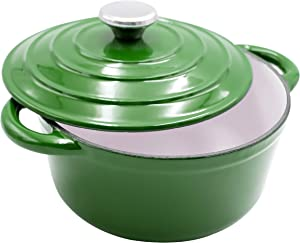 AIDEA Dutch Oven Enameled Cast Iron Round, Bread Baking Pot with Lid & 5-Quart Natural Non-Stick Slow Cook Self Christmas Gifts-Green