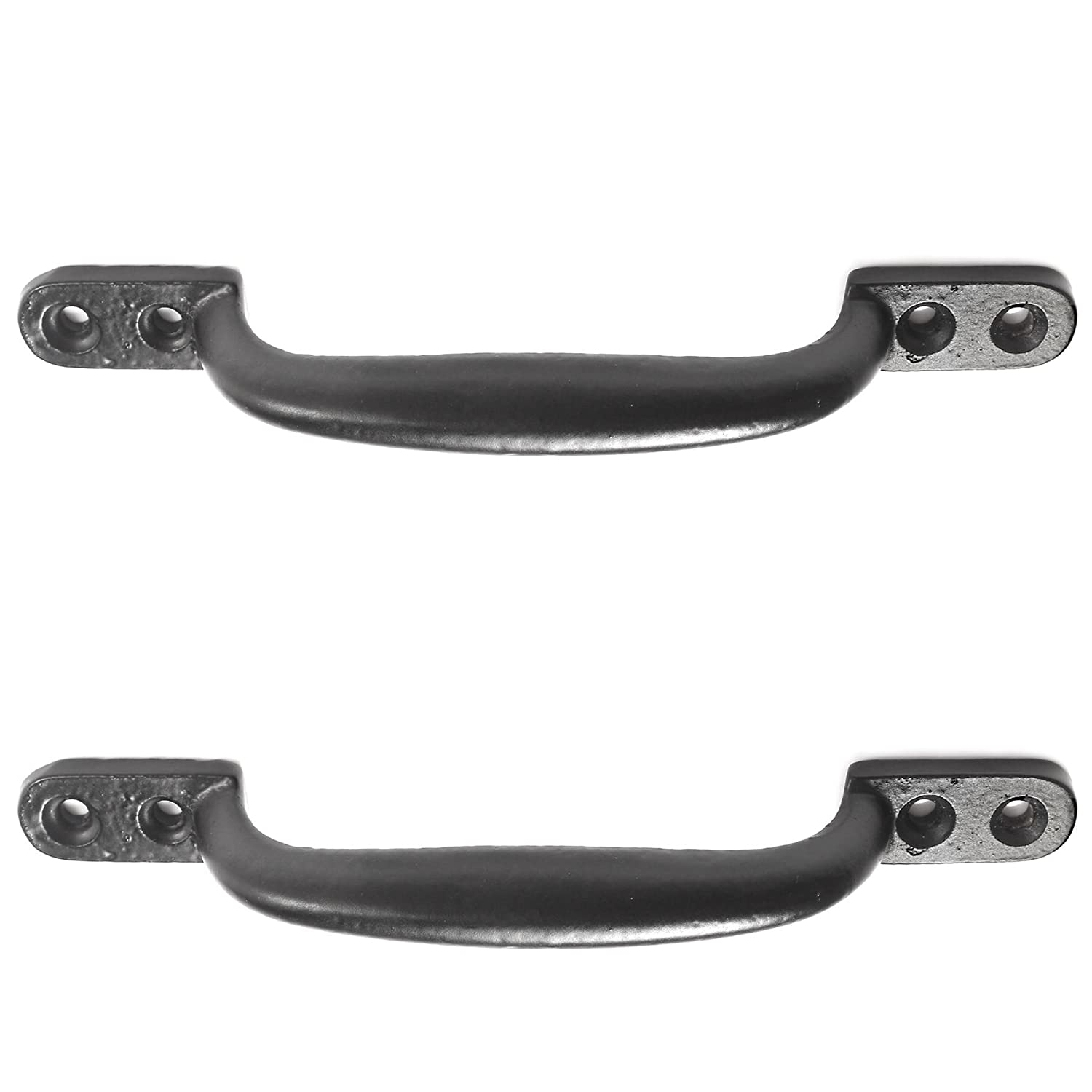 2x Black Cast Iron 6'/150mm Hot Bed Handles + Screws - Door/Shed/Garden Gate D Pull Handles White Hinge