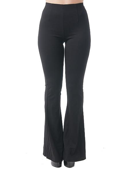 2de020ee3a4b2 Khanomak Women's Full Length Flare Leggings with Mesh On The Sides (Large,  Black) at Amazon Women's Clothing store: