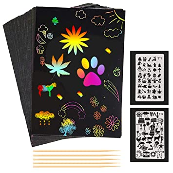 Magic Scratch Art Painting Book Paper Paintings Colorful Educational Toy Kids-UK