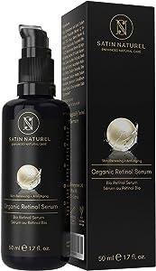 Serum Facial de Retinol orgánico con Acido Hialuronico 50ml - Sistema 3% Retinol de Liberación Sostenida, 25% Vitamina C y Aloe Vera - Vegano de Alta Calidad - Hidratante Facial para Mujer