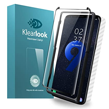 Galaxy S9 Plus Screen Protector Tempered Glass Case Friendly with [Easy  Install Tool & Back Skin Sticker] Klearlook 9H Anti Scratch Curve Edge Fit