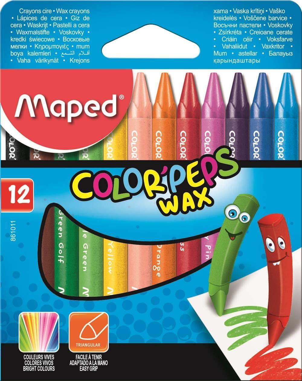 Maped m861011 – Cera rotuladores color peps Wax, 12 unidades): Amazon.es: Oficina y papelería