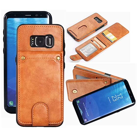 brand new eb754 dfcfc Galaxy S8 Wallet Case with 6 Card Holder, Detachable Leather Hynice Purse  for Women Men with Kickstand Credit Slots Shockproof Slim Cover Flip Case  ...