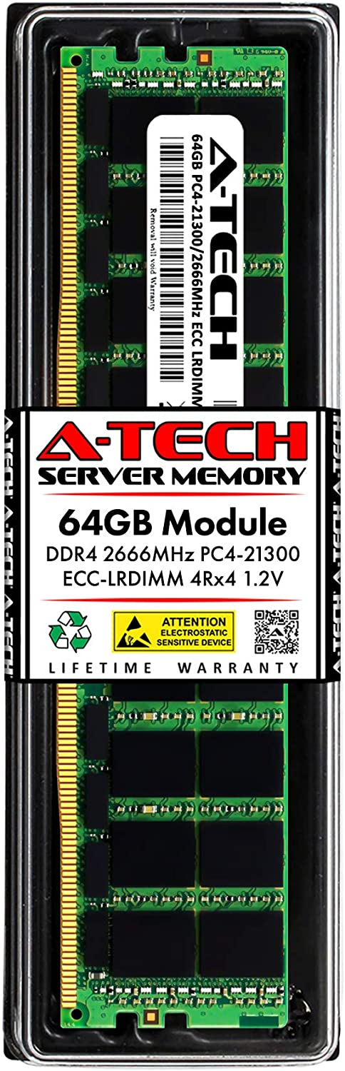 A-Tech 64GB Memory RAM for Dell PowerEdge T440 - DDR4 2666MHz PC4-21300 ECC Load Reduced LRDIMM 4Rx4 1.2V - Single Server Upgrade Module (Replacement for SNP4JMGMC/64G)