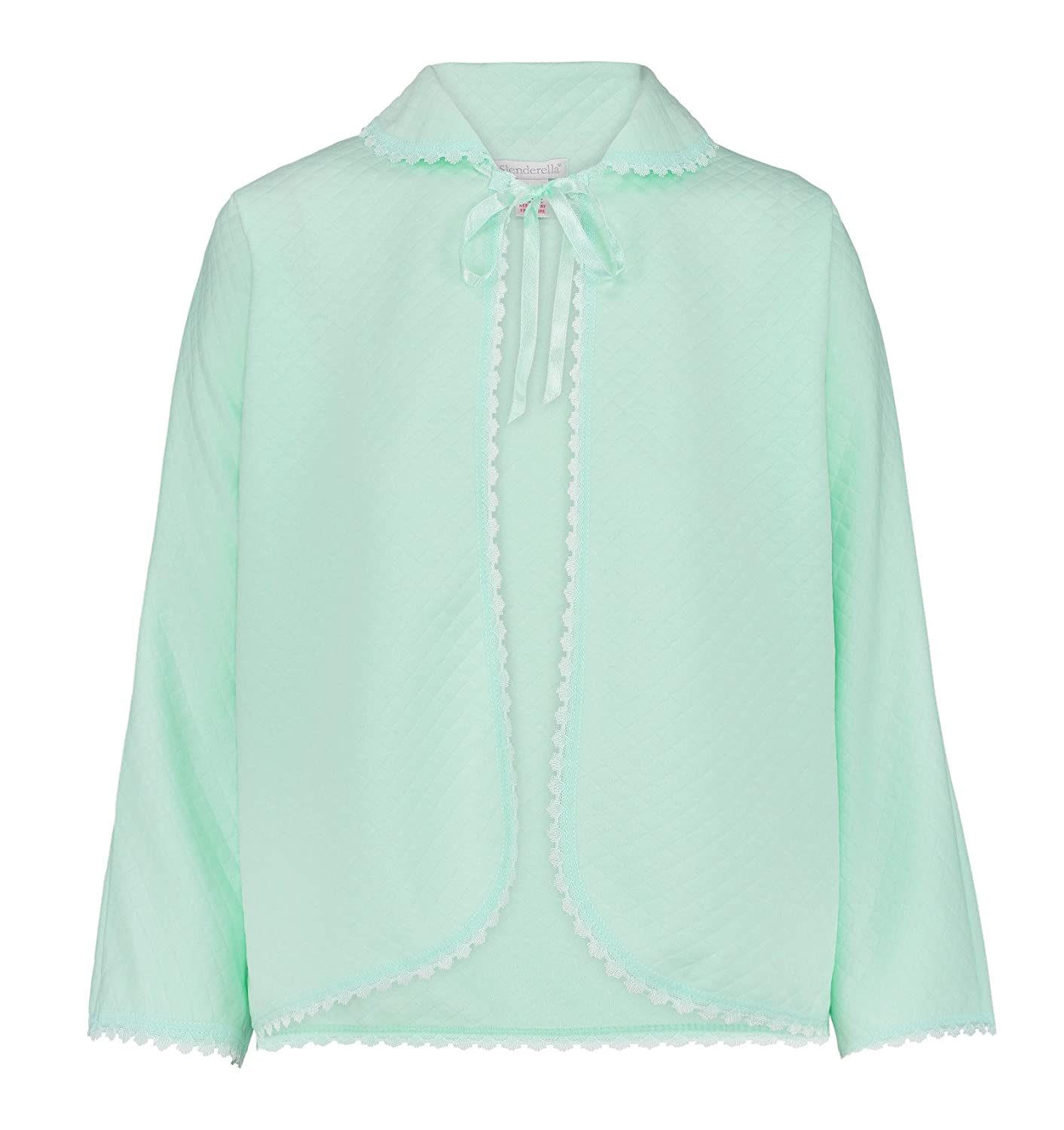 Slenderella Ladies Ribbon Tie Bed Jacket Lace Detail Batwing Sleeve Housecoat (Various Colours)