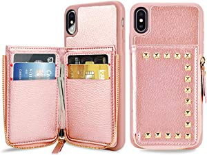 """ZVE Wallet Case for Apple iPhone Xs Max, 6.5-Inch, Shockproof Leather Credit Card Holder Slot Money Pocket Cases, Protective Bumper Phone Cover Compatible with iPhone Xs Max 6.5"""" (2018) - Rose Gold"""