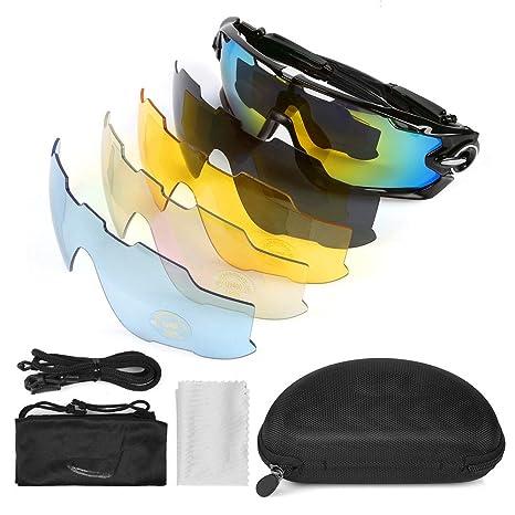 LeaningTech Bike Occhiali da sole polarizzati occhiali da sport 5 lenti  sostitutive Occhiali per lo sport 4c7fea79c178