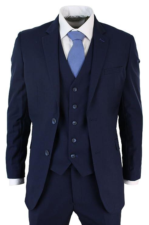 Voeut Herren Formell Enge Passform Tonic Blau Anzugshose ford Größen