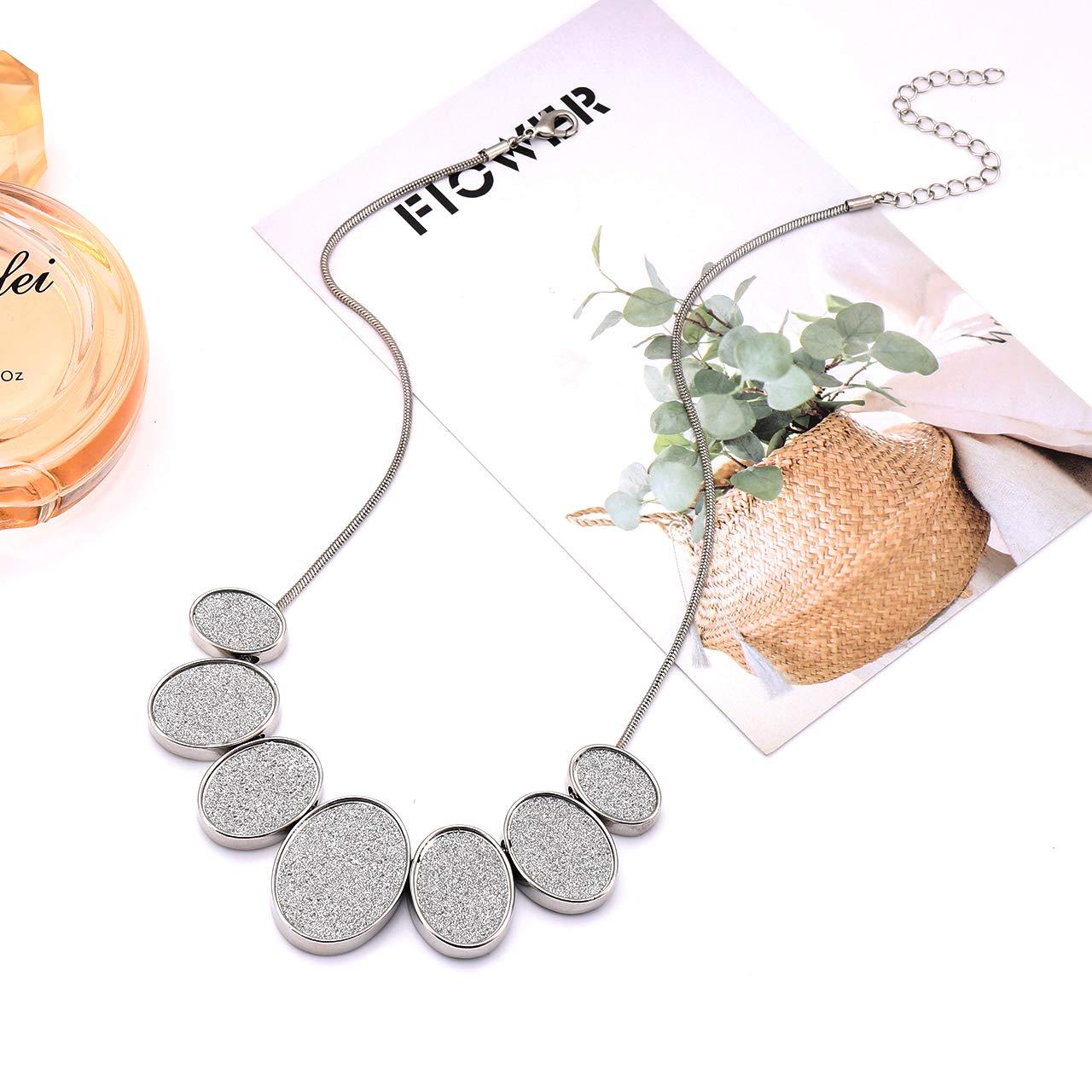 GBLW Collar Necklace for Women Boho Druzy Chunky Bib Necklace Geometric Glitter Statement Necklace Fashion Jewelry