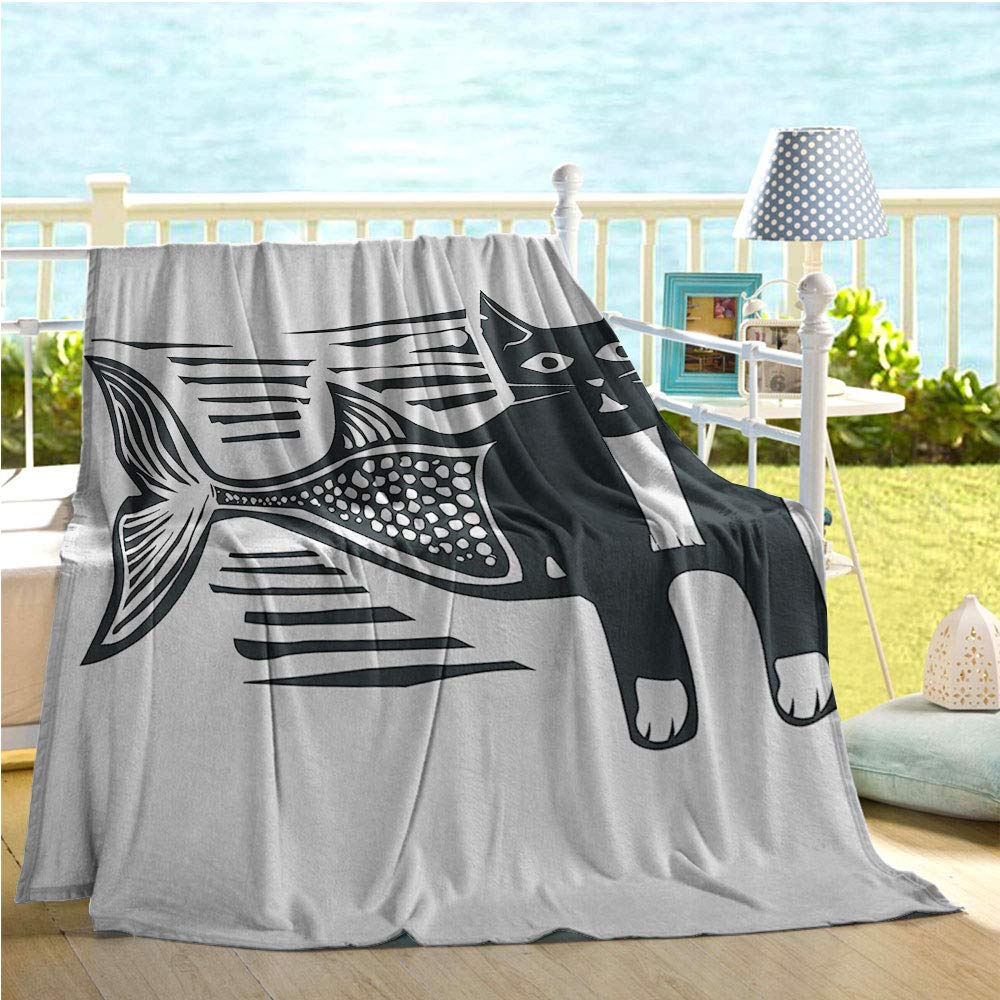 """Mermaid Decor Collection Swaddle Blanket,Woodcut Style Image of a Catfish Mermaid Monochrome Comic Humorous Art Design Print,Quilt Full Size Black and White 50""""x60"""""""
