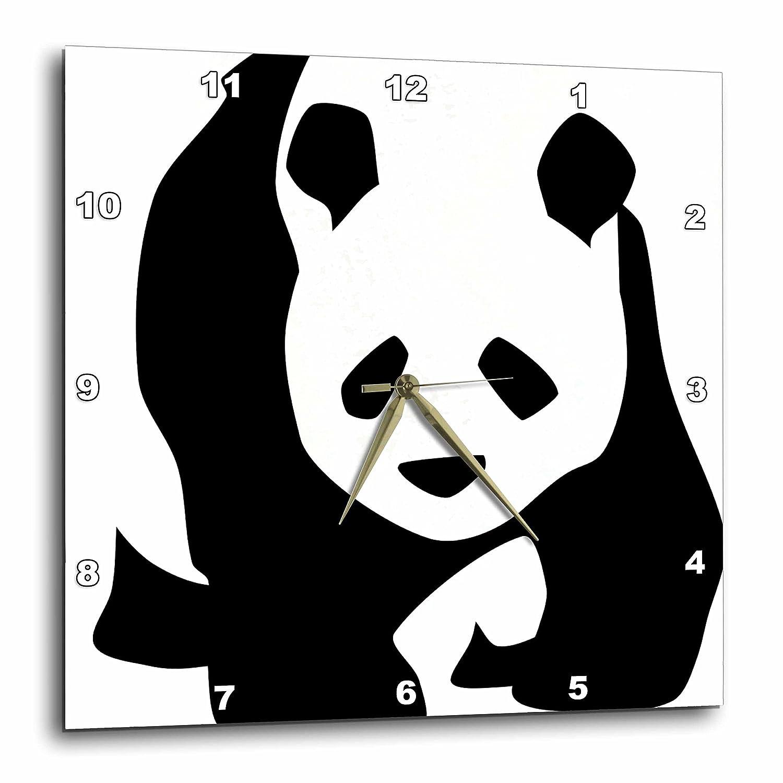 10x10 Wall Clock Cute Art Animals dpp/_51358/_1 Panda Bear 3dRose PS Creations