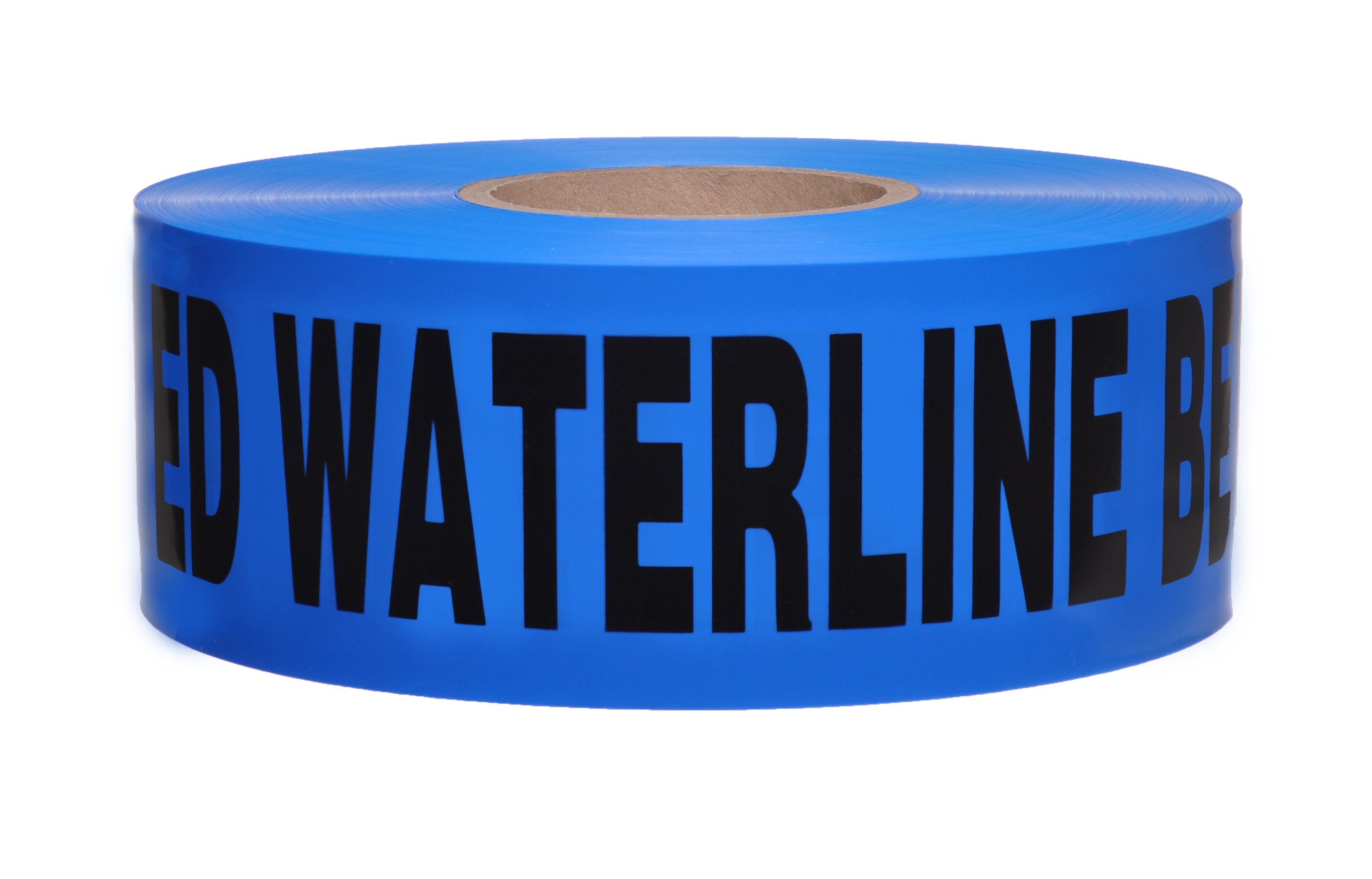 Presco B3104B52-658 1000' Length x 3'' Width x 4 mil Thick, Polyethylene, Blue with Black Ink Non-Detectable Underground Warning Tape, Legend ''Caution Buried Waterline Below'' (Pack of 8)